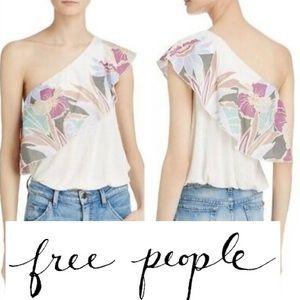 Free People Annka one shoulder floral top   (T120)